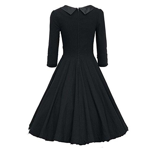 Dissa M1143 femme Rockabilly Robe de Soiré cocktail Robe de Bal Retro Noir