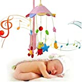 Baby Grow Frog & Owl Baby Rotating Music Rattle Plush Toys Pink Cartoon Mobile Bed Bells Music Box Hanging Toys For Crib Strollers Cradles (Pink Frog & Owls)
