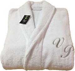 Idea Regalo - Accappatoio con collo a scialle, 100% cotone, qualità da hotel e spa, colore bianco, personalizzabile, 100% cotone, White, small