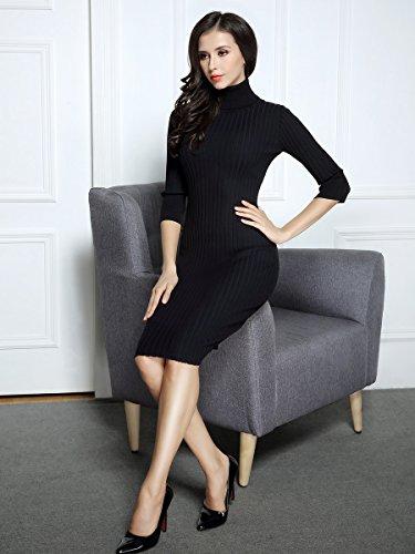 Miusol Wollkleid Strickkleid hoher Kragen figurbetontes Kleid - 6