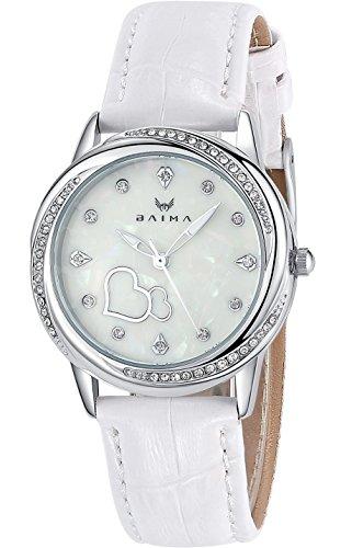 Inwet Kristall Quarz Armbunduhr für Damen,Leuchtend Weiß Zifferblatt Analoge Anzeigen und Leder Armband,Elegant Kleid