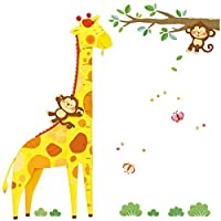 Decowall DM-1511 Giraffe Height Chart Kids Wall Stickers Wall Decals Peel and Stick Removable Wall Stickers for Kids Nursery Bedroom Living Room