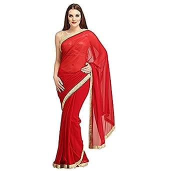 Navanya Couture Faux Georgette Saree (Moti-Border_Blood Red)