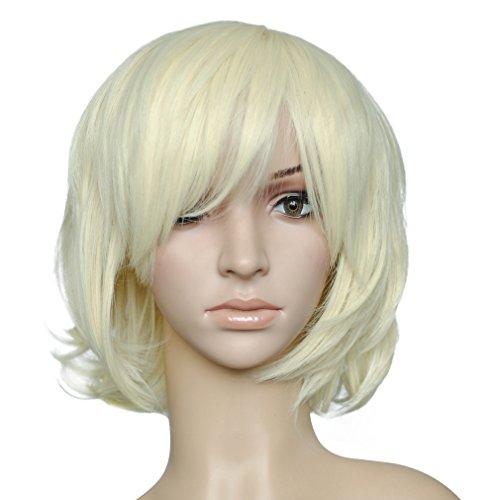 Namecute Perücke Weiß Blond Kurz Ombre Peruecke BOB Peruecken mit Pony Damen