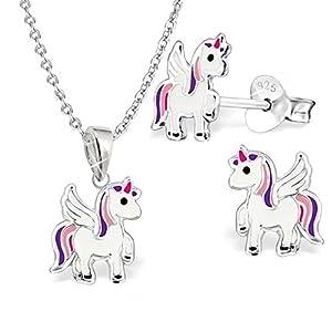 GH* KIDS Mini Einhorn Kinder SET ANHÄNGER + KETTE + OHRSTECKER 925 Sterling Silber Mädchen Ohrringe Pferde Pegasus