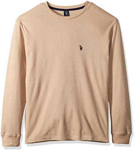U.S. Polo Assn. Men's Long Sleeve Crew Neck Solid Thermal Shirt, Khaki Heather, S - Mens Crew Neck Thermal