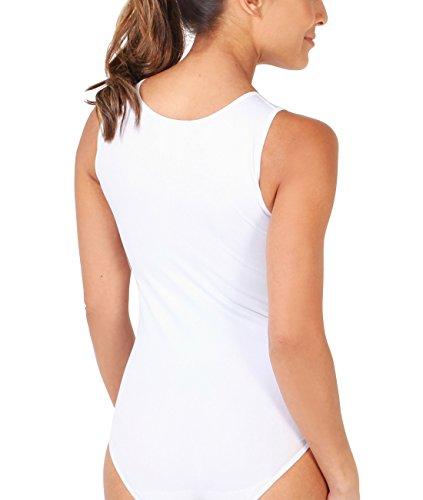 KRISP® Damen Basic Body Breite Träger oder Spaghettiträger Weiß (9832)