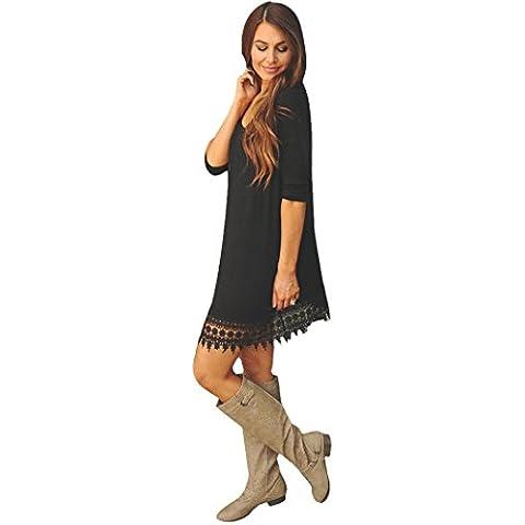 FEITONG Empalmado del cordón atractivo de las mujeres Hem Bodycon del partido de la manga larga Mini vestido de noche