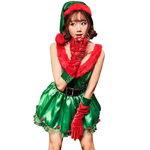 Kostüm Elf Set Samt - XIADE Frauen Santa Assistent Kostüm 3-teiliges Set Green Elf Kleid Hut und Handschuhe Santa Cosplay Kostüm
