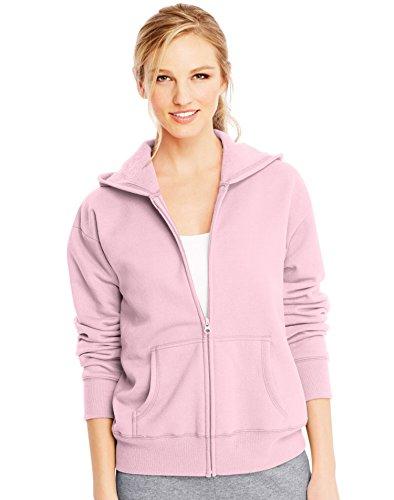 Hanes ComfortSoft EcoSmart Women's Full-Zip Hoodie Sweatshirt_Pale Pink_2XL