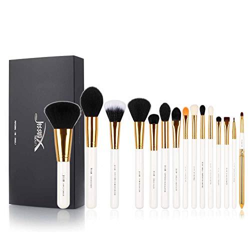 Jessup - Set professionale di pennelli da trucco, 15pezzi, per fondotinta, ombretto, eyeliner, sfumature, labbra, accessori da trucco, codice T103, colore bianco/oro