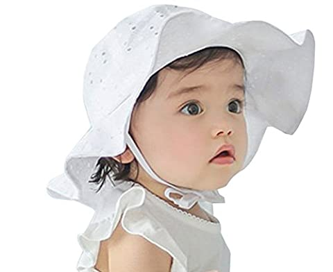 Baby Toddler Girls Large Brim Sun hat with Chin Strap Cotton UPF 50+ Sun Protection Bucket Hat Cap for Baby Girls 10-42