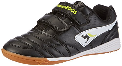 KangaROOS Power Court, Unisex-Kinder Hallenschuhe, Schwarz (black/white/lime 508), 33 EU