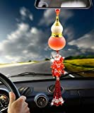 YY Club Car Ornament Home Decoration Crystal Glass Gourd Perfume Bottle Automotive Rearview Mirror Blessing Safe Journey Symbol Tassel Beads Perfume Car Interior Pendan