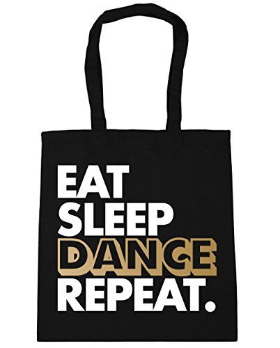 HippoWarehouse Eat Sleep Dance Repeat Tote Shopping Gym Beach Bag 42cm x38cm, 10 litres