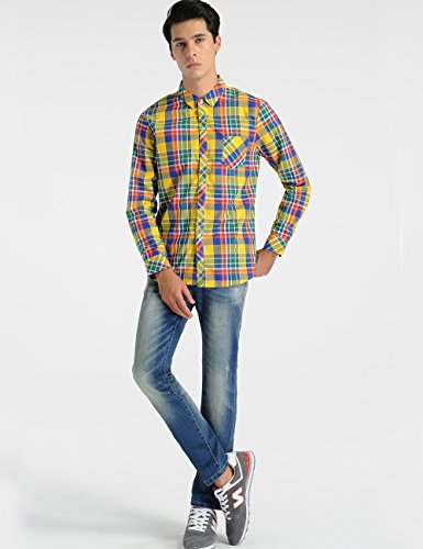 SSLR -  Camicia Casual  - A quadri - Uomo Yellow(025)