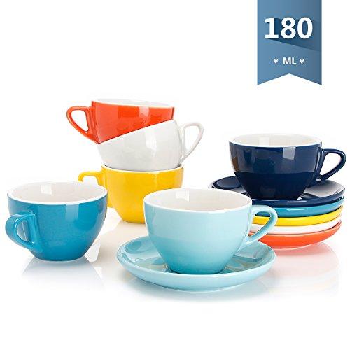 Sweese 402.002 6-teilig Cappuccinotassen Set aus Porzellan, Dickwandige Kaffeetassen mit Untertasse, Bunte Serie, 180 ml