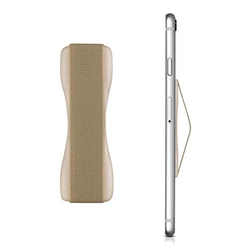 kwmobile Smartphone Fingerhalter Griff Halter - Selbstklebende Handy Fingerhalterung - Finger Halter für z. B. iPhone Samsung Sony Handys Gold -