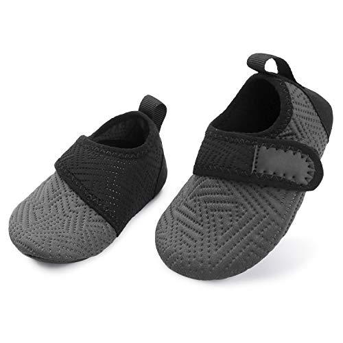 L-RUNJP Kinder Schwimmen Soack Kleinkind wasserdichte Wasser Schuhe Atmungsaktiv Grau schwarz 18-24 Monat = EU21-22