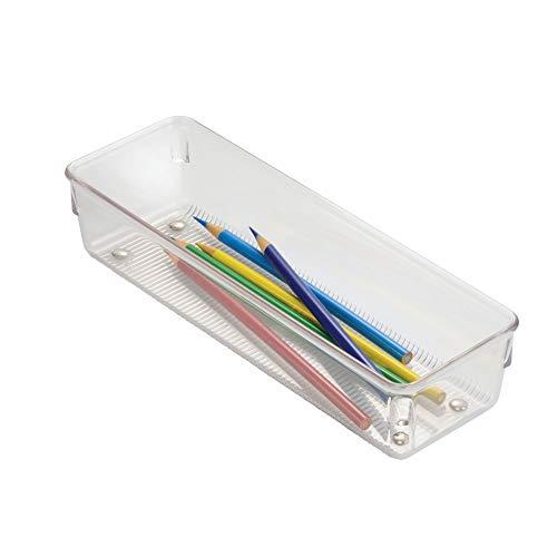 iDesign Linus Schubladenorganizer, kleiner Schubladeneinsatz aus Kunststoff für Besteck und andere Utensilien, durchsichtig