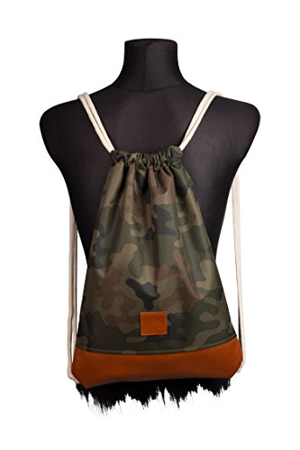 a0900361d5ec6 Manufaktur13 Leather Camo Sports Bag - Camouflage Rucksack Gym Bag  Turnbeutel Sport Beutel Tasche M13