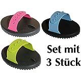 PVC Gummi Striegel 3er Set mit spezial Noppen, verstellbare Handschlaufe, farblich sortiert