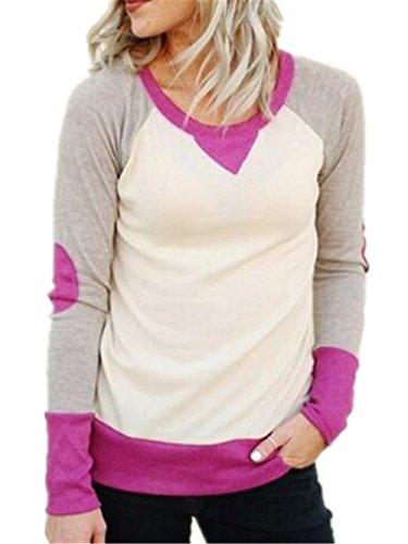 AILIENT Donna Sweatshirt Elegante Pullover Manica Lunga Rotondo Collo Patchwork Colori Misti Casuale Moda Tops Sportiva Maglie Felpa Casual Purple