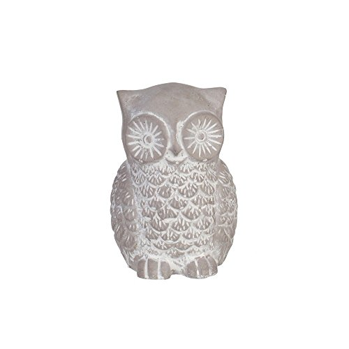 Figura búho gris cerámica (7,50 x 8 x 11,50 cm)
