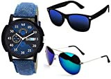 Sheomy Combo Pack of Sunglasses and metal analogue quartz Black and Blue Dial Watches Business/Office/Party Wear Fashion Watch Mens Man Gents boys (3IN1 - Blue Watch - 001)