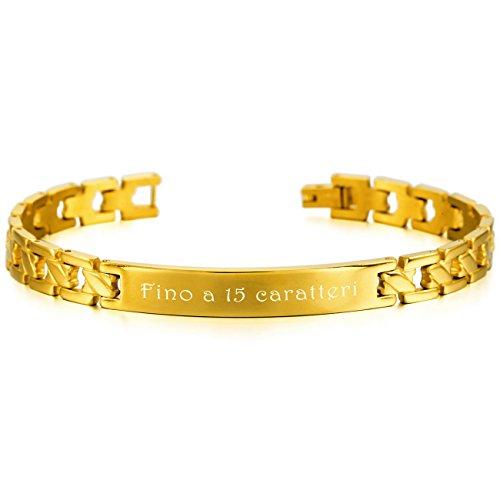 MeMeDIY Oro Tono Acciaio Inossidabile Bracciali Bracciale Braccialetto Collegamento - personalizzato incisione