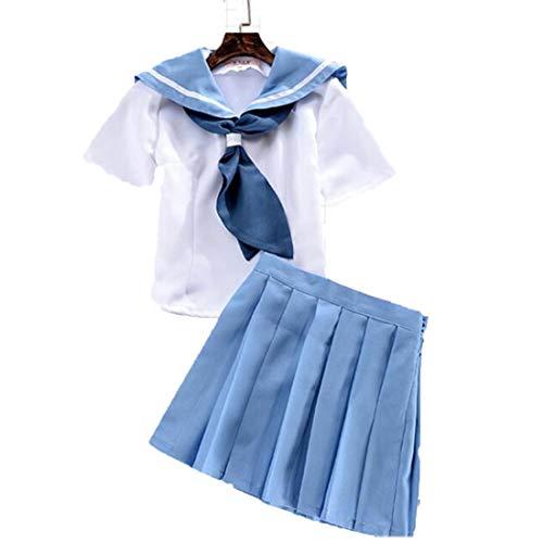 RL Anime TÖTEN la TÖTEN Mankanshoku Mako Tops Kleid Matrosenanzug Uniform Outfit plissiert niedlichen schlanken Rock T-Shirt Cosplay Kostüme,Full Set-M (Mako-uniform)
