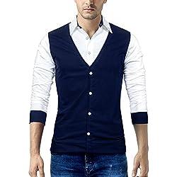 Seven Rocks Men's Cotton T-Shirt Navy Blue_Medium