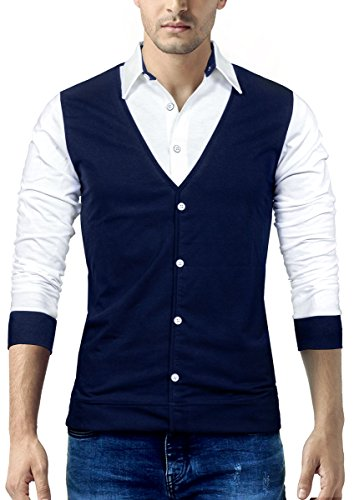 Seven Rocks Men's Cotton Waist Coat Style T-Shirt Navy Blue_Large