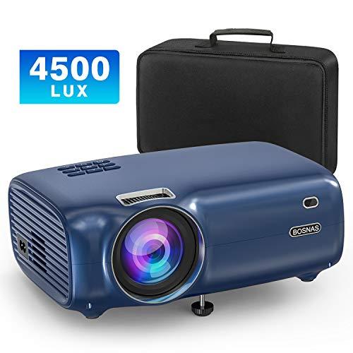 """Mini Beamer, Video Projektor mit Smartphone-Synchron Bildschirm Full HD 1080P unterstützt 200"""" Display LED 50.000 Stunden, kompatibel mit Fire Stick, HDMI VGA USB TV Box Laptop DVD"""