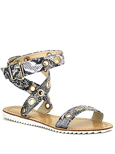 Cendriyon, Sandale Grise Effet serpent WINA Chaussures Femme Gris