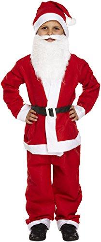 WEIHNACHTSMANN KOSTÜM FÜR KINDER = 5 TEILIGES SANTA KOSTÜM IN 3 VERSCHIEDENEN GRÖSSEN = KOMMT MIT BART UND MÜTZE = FÜR KINDER IM ALTER VON 7/9 (Santa Kostüme Kind)