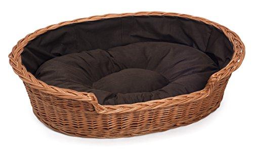 Große Weide Hundekatze-Haustier Weidenkorb Dunkle Kissen