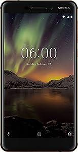 Nokia 6.1 Dual SIM Smartphone VERSION 2018 - deutsche Ware (5,5 Zoll IPS Full-HD Display, 32GB ROM, 3GB RAM, 16 Megapixel Rückkamera + 8MP Frontkamera, LTE, Pure Android 8 Oreo, Schnellladefunktion, MP3 Player, FM Radio, NFC, Wecker) inkl. Displayschutzfolie - schwarz/kupfer [Exklusiv bei Amazon]