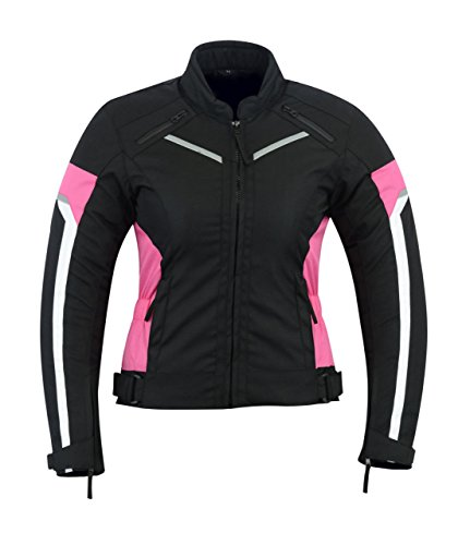 LeatherTeknik Donna motocicletta blindata alta protezione impermeabile giacca nero/rosa Armour wcj-1834pink
