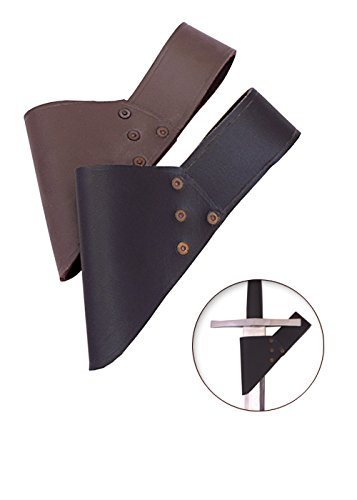 Schwertgürtelhalter aus schwarzem Leder - Schwerthalter Gürtelhalter (Schwert Gürtel)