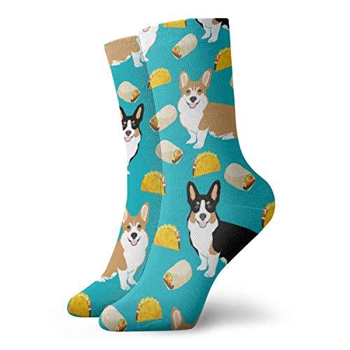 Fun Socken -Corgi Tacos Cute Corgi Dogs Stoff Cute Corgis Burritos Mexican Food_815 Malerei Kunst gedruckt lustige Neuheit Tier lässig Baumwolle Crew Socken 11.8inch (Corgi Malerei)