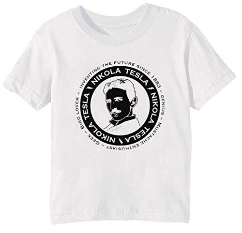 6df4433a9c56 Nikola Tesla Niños Unisexo Niño Niña Camiseta Cuello Redondo Blanco Manga  Corta Tamaño S Kids Boys