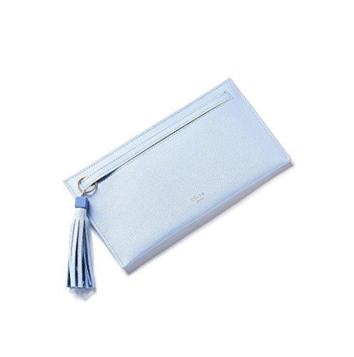 Dairyshop Portafoglio lungo della borsa della nappa della frizione del raccoglitore della signora di cuoio della signora delle donne di modo (Blu) Blu