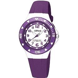 Lorus White Dial Plastic Purple Strap Girls Watch R2337DX9