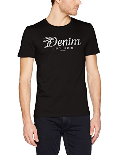 TOM TAILOR DENIM Herren T-Shirt Nos Crewneck Tee with Print, Schwarz (Black 2999), Medium (Crewneck Herren Tee)