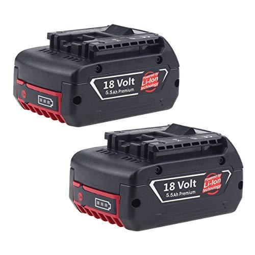 2 Stück Forrat für Bosch Akku 18V 5,5Ah Li-ion CoolPack Ersatzakku Professional GBA BAT621 BAT609 BAT610G BAT618G BAT620