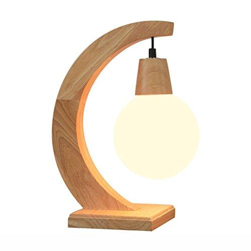 WSXXN Moderne gebogene hochwertige Eiche und Milchglas Nachttischlampe, kreative LED Tischlampe für Zuhause, Schlafzimmer, Wohnzimmer, Restaurant
