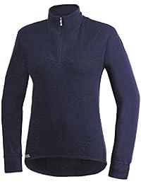 Woolpower 200- Camiseta interior con cremallera, manga larga, cuello de tortuga, azul marino, extra-large