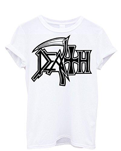 T-shirt Uomo Death Maglietta rock 100% cotone LaMAGLIERIA,M, Bianco