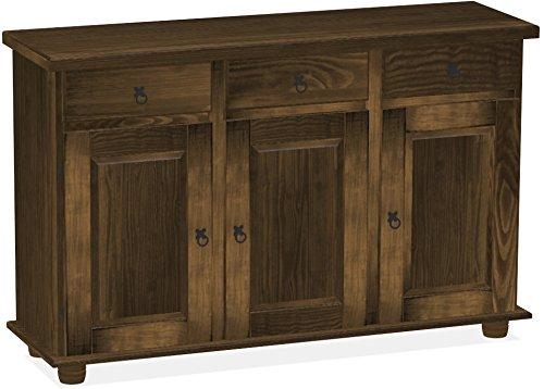 Honig Eiche Buffet (Brasilmöbel Sideboard, Pinie Massivholz, geölt und gewachst Eiche antik, L/B/H: 129 x 40 x 83 cm)